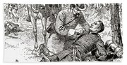 Confederate General John Brown Gordon Assists Wounded Union General Francis Channing Barlow Beach Towel