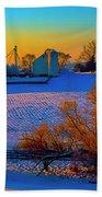 Conley Road Farm Winter  Beach Towel