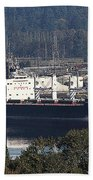 Container Ship Ready To Load More Lumber Beach Towel