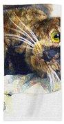 Contented Cat Beach Towel