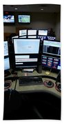 Control Room Center For Emergency Beach Towel by Terry Moore