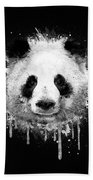 Cool Abstract Graffiti Watercolor Panda Portrait In Black And White  Beach Towel