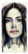 Cool Colored Watercolor Face Beach Towel