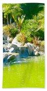 Cool Green Waterfall Beach Towel