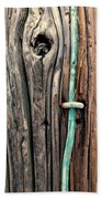 Copper Ground Wire And Knothole On Utility Pole Beach Towel