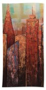 Copper Points, Cityscape Painting Beach Towel