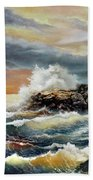Coquille River Lighthouse At Hightide Beach Towel