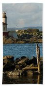 Coquille River Lighthouse Bandon Oregon Beach Towel