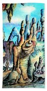 Coral Island, Stone City Of Alien Civilization Beach Towel