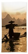 Cormorant Fisherman At Sunset Beach Towel