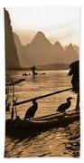 Cormorant Fishermen At Sunset Beach Towel