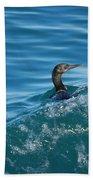 Cormorant In The Water Beach Towel
