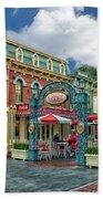 Corner Cafe Main Street Disneyland 01 Beach Towel