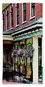 Corner Restaurant With Hanging Plants Beach Towel