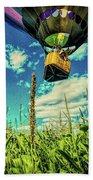 Cornfield View Hot Air Balloons Beach Towel by Bob Orsillo