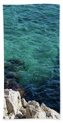 Cote D Azur - Stark White And Silky Azure Blue Beach Towel