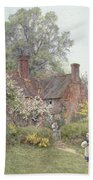 Cottage At Chiddingfold Beach Towel by Helen Allingham