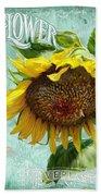 Cottage Garden - Sunflower Standing Tall Beach Sheet