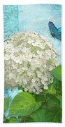 Cottage Garden White Hydrangea With Blue Butterfly Beach Towel