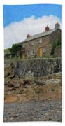 Cottage On Rocks At Port Quin - P4a16009 Beach Towel
