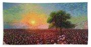 Cotton Field Sunset Beach Towel