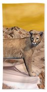 Cougar In The Mountain - 3d Render Beach Towel