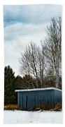 Country Barn In The Snow Beach Towel