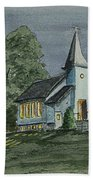 Country Church On A Summer Night Beach Towel