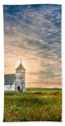Country Church Sunrise Beach Towel