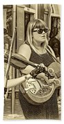 Country In The French Quarter 3 Sepia Beach Towel
