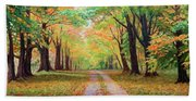 Country Lane - A Walk In Autumn Beach Towel