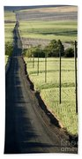 Country Road, Wheat Fields Beach Towel