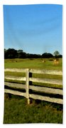 Country Scene With Field And Hay Bales Beach Towel