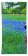 Country Western Blue Bonnets Beach Towel