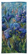 Countryside Irises Oil Painting With Palette Knife Beach Towel