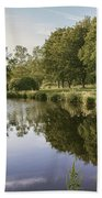 Countryside Park Pond Beach Towel