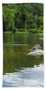 Couple Relaxing By The Shenandoah River At Harpers Ferry Beach Towel