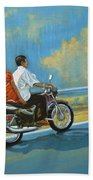 Couple Ride On Bike Beach Towel
