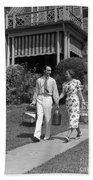 Couple Walking Out Of House, C.1930s Beach Towel