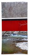Covered Bridge Along The Wissahickon Creek Beach Towel