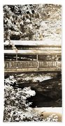 Covered Bridge At Lanterman's Mill Black And White Beach Towel