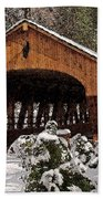 Covered Bridge At Olmsted Falls-winter-2 Beach Towel