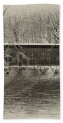 Covered Bridge In Black And White Beach Towel