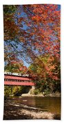 Covered Bridge Over The Swift River In Conway Beach Towel
