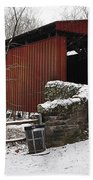 Covered Bridge Over The Wissahickon Creek Beach Towel by Bill Cannon