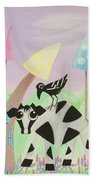 Cow And Crow In The Land Of Mushrooms Beach Sheet