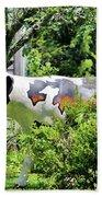 Cow Statue Beach Towel