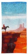 Cowboy At Monument Valley In Utah - Da Beach Towel