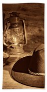 Cowboy Hat And Kerosene Lanterns Beach Towel