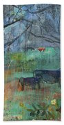 Cows In The Olive Grove Beach Towel